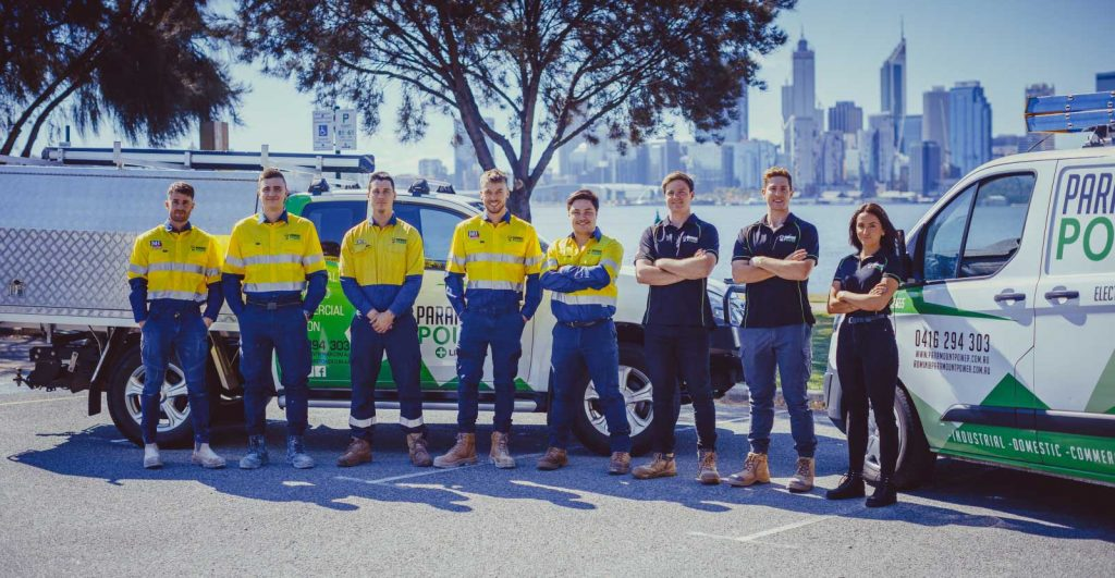 Paramount Power Team Photo at King's Park with Perth City in the Background